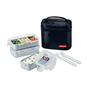 Lock lock rectangular lunch box bento set w for Zaffron kitchen set lunch