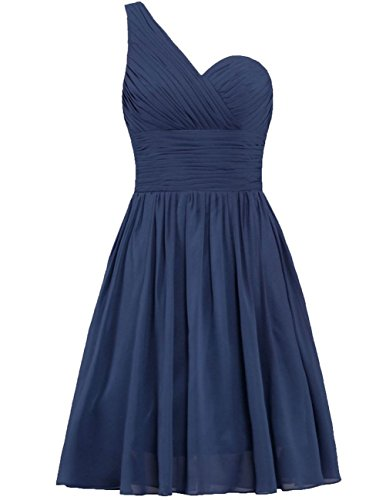 Chiffon Bridesmaid Wedding Navy Party Short Shoulder One Gowns Prom Dresses Cdress w5UqIx