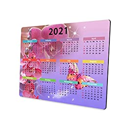 2021 Calendar Plum Butterfly Mouse Pad Design, Professional Customized Rectangular Non-Slip Rubber Gaming Mouse Pad…
