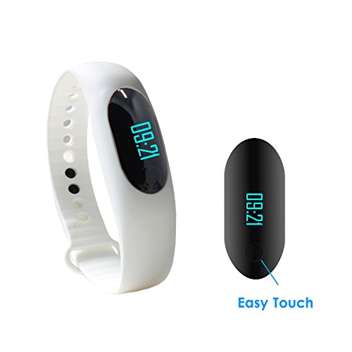 stardrift Bluetooth 4.0 Smart Wristband Sports Bracelet with Pedometer Sleep Monitor Activity Tracker with Touch Button Compatible for iPhone 6s 6 6 plus 5s and Android 4.3 above Waterproof (white)