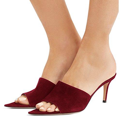 Fsj Moda Donna Slip On Muli Sandali Tacchi Peep Toe In Finta Pelle Scamosciata Sexy Scarpe Da Scivolo Taglia 4-15 Us Wine-7 Cm
