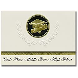 Signature Announcements Carle Place Middle Senior High School (Carle Place, NY) Graduation Announcements, Presidential Elite Pack 25 Cap & Diploma Seal Black & Gold