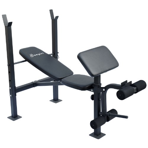 Soozier Incline / Flat Exercise Free Weight Bench w/ Curl Bar / Leg Extension by Soozier