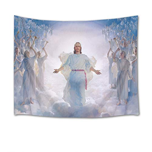 HVEST Jesus Christ Tapestry Lord and Angel in Heaven Wall Hanging Merry Christmas Tapestries for Bedroom Living Room Dorm Decor,80Wx60H inches