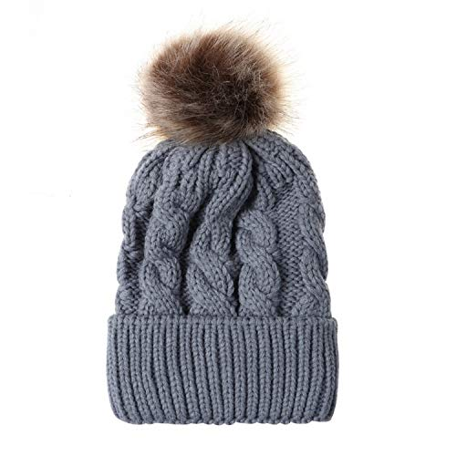 Beauty7 Women Soft Stretch Cuffed Knitted Beanie Cap Faux Fuzzy Fur Pompom Top Chunky Slouchy Hat Skull Cap Winter Fall Gray