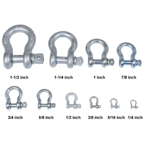 US Cargo Control 3//8 Inch Galvanized Screw Pin Anchor Shackle Each with a 1 Ton Capacity