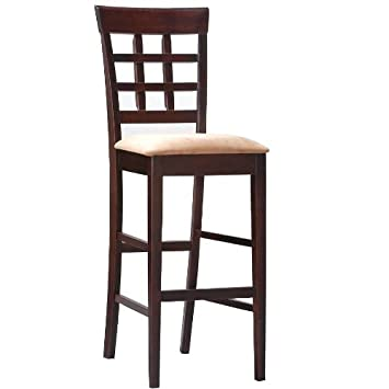 """Coaster Bar Stools, Solid Wood Cappuccino with Wheat Back,30""""H,Set"""