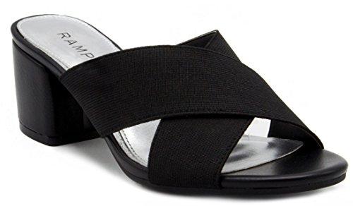 Rampage Women's Hannie Heeled Cross Banded Slide Sandal 8 Black Stretch