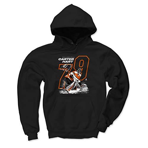 (500 LEVEL Carter Hart Philadelphia Flyers Hoodie Sweatshirt (Large, Black) - Carter Hart Outline O WHT)