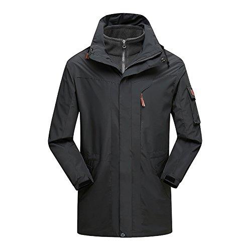Dark gris(m) 5XL DYF Les Hommes Femmes montée Ski Down veste Coat Couleur Solide Couple de Longueur Moyenne.