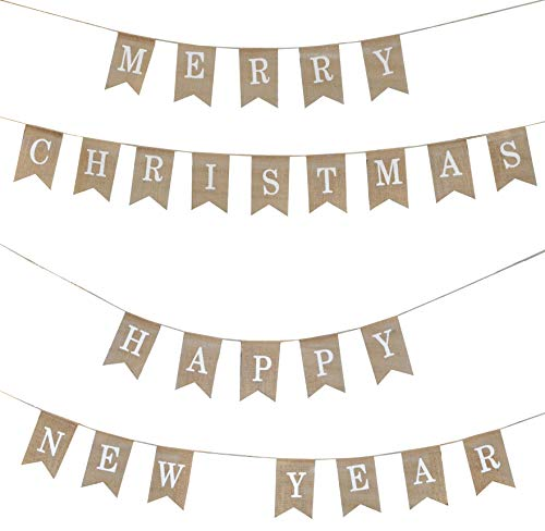 Mandala Crafts Merry Christmas Banner, Happy New Year Banner from Burlap, Fabric Pennant Bunting String, Pendant Flags Party Decoration