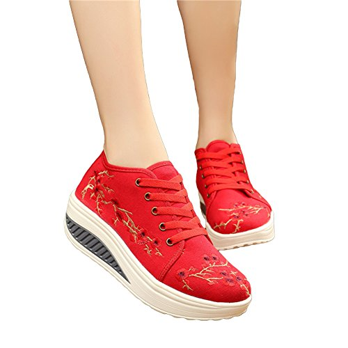 AvaCostume Womens Plum Blossom Embroidery Platform Casual Sneaker Shoes, Red 35