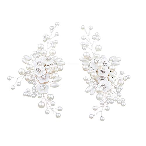 Florashop Women's 2PC Wedding Party Shoes Clips Rhinestone Silvery Pearl Crystal Flowers Decorative Jewelry Clips Removable Shoe Decorations for Flats