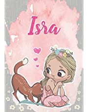Isra: Notebook A5 | Personalized name Isra | Birthday gift for women, girl, mom, sister, daughter ... | Cute little girl with cat | 120 lined pages journal, small size A5 (ca. 6 x 9 inches)