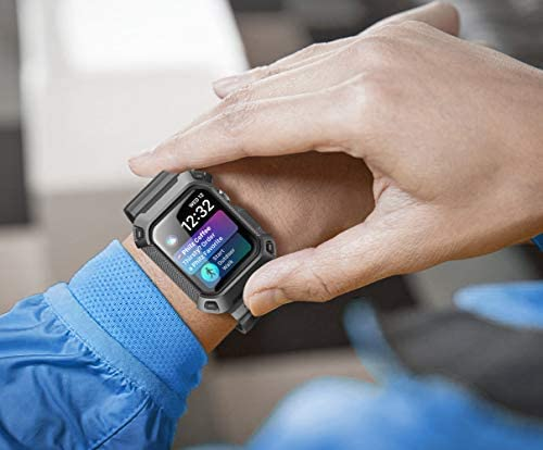 SUPCASE [Unicorn Beetle Pro] Designed for Apple Watch Series 6/SE/5/4 [44mm], Rugged Protective Case with Strap Bands(Black)
