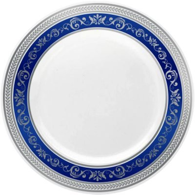 Royalty Settings Royal Collection Hard Plastic Plates for Weddings for 120 Persons, Includes 120 Dinner Plates, 120 Salad Plates, 240 Forks, 120 Spoons, 120 Knives, Blue with Silver Rim by Royalty Settings