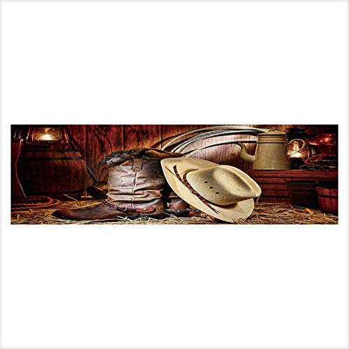 Dragon Fish Tank Background American West Rodeo Cowboy Traditional White Straw hat on Leather Rancher Roper Boots PVC Adhesive Decor Paper Sticker 29.5