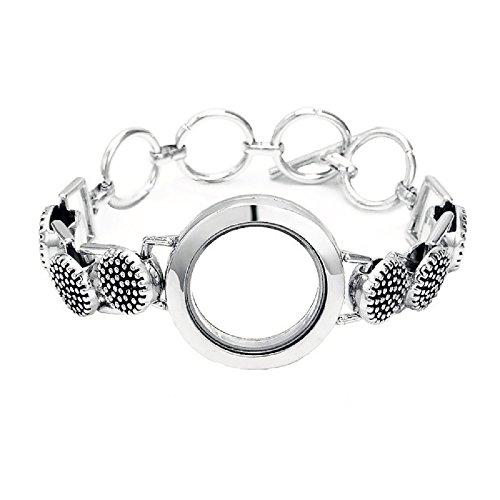 Antique Silver Floating Charm Toggle Clasp Bracelet Charm Locket Toggle Bracelet