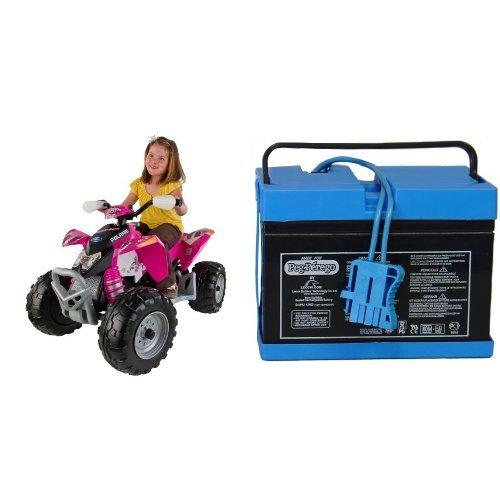 Peg Perego Polaris Pink Outlaw With 12 Volt Battery Bundle
