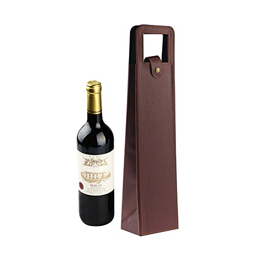 Leather Wine Gift Bags Carrier with Handles, Reusable Wine Bottles Holder for Travel Picnic Hiking, 1 Bottle, (Leather Wine Holder)