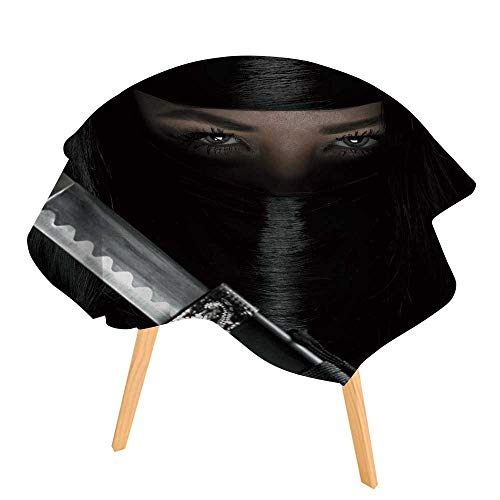 PINAFORE Polyester Dust-Prooftablecloth Girl or Woman in Black Ninja Samurai Warrior Outfit Holds Katana Sword Female Assassin for Kitchen Dinning 35.5