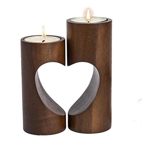- ChasBete Romantic Tea Light Candle Holders Decorative, Wood Tealight Candle Holder Set of 2 Unity Heart Pedestal for Home Décor
