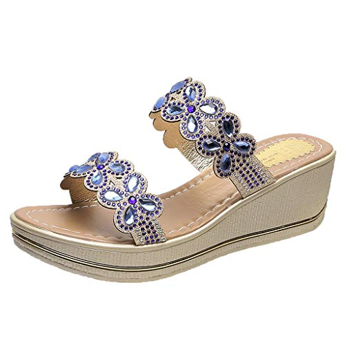 ◕‿◕Watere◕‿◕ Women Slippers,Bohemia Crystal Shoes Wedges Thick Peep Toe Sandals Mid-Heel Slippers Fish Mouth Slippers (Hi Tec Crystals)