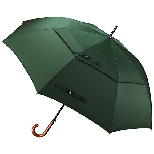 Prospo 62 inch Wooden Handle Hook Snow Umbrella Large Auto Open Umbrellas Double Canopy Vented Classic Golf Umbrella Windproof Rainproof Walking Stick Umbrella for Men Women(Green) ()
