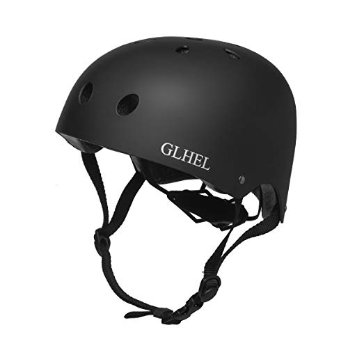 GLHEL Skateboard Helmet Impact Resistance Safe Helmet Multi Sport for Bike, Skates, Skateboards & Scooter Certified CPSC Adult&Kids Adjustable Dial Helmet with Multiple Colors&Sizes (Black, Medium)