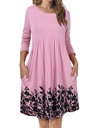 FANSIC Long Tunic Dresses for Women, Long Shirts Blouses Tunic Tops for Leggings Printed Ethnic Style Pink Small