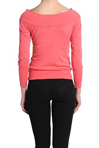 ed4367113374 TheMogan Women s Cozy Off-Shoulder Kangaroo Pocket Tee-Coral S at Amazon  Women s Clothing store