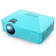 Mini Projector, DBPOWER GP15 50% Brighter Portable LCD Mini Video Projectors Support 1080P HDMI USB SD Card VGA AV for Multimedia Home Cinema, Movie, TV, Laptops, Games, Smartphones, Blue