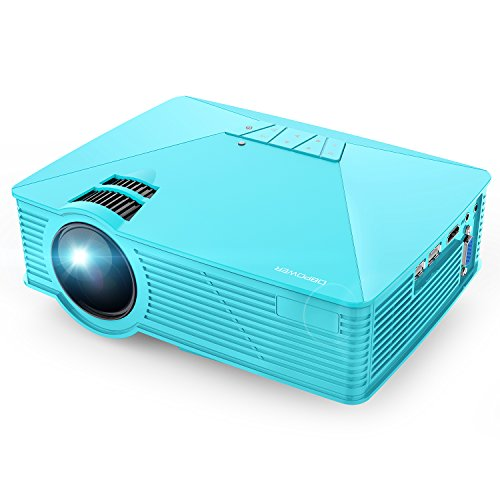 Dlp Video Card (DBPOWER GP15 Projector, 1800 Lumens LCD Mini Video Projectors Support 1080P HDMI USB SD Card VGA AV for Multimedia Home Cinema, Movie, TV, Laptops, Games, Smartphones, Blue)