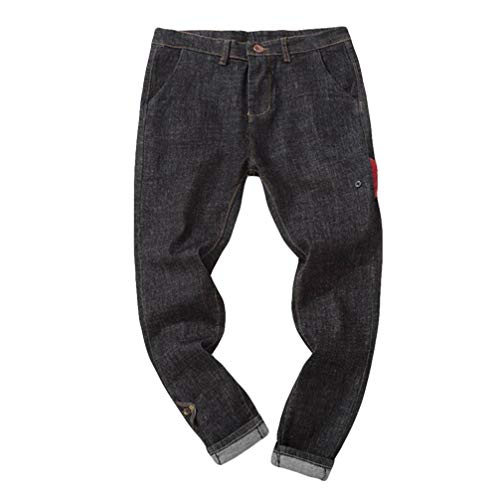 Hombre Jeans Pantalones,Sonnena Vaqueros Ocasionales de algodón de la Vendimia del otoño Denim Cotton Wash Pantalones de Trabajo Jeans Pantalones Larga F