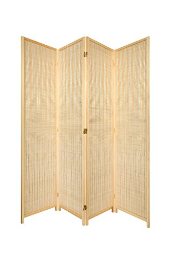 4 Panel Natural Color Wood and Bamboo Weave Room Divider Folding Screen 2-Way Double hinged, By Legacy Decor by Legacy Decor