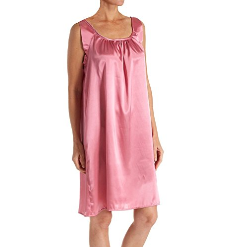 Amanda Rich Satin Banded Sleeve Knee Length Gown (104-40) L/Dusty Pink Amanda Knee Length Nightgown