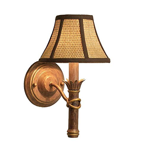 Aztec Lighting Island Gold Wall Sconce with Wicker Shade