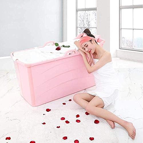ポータブルバスタブバスタブバスタブストールストールプラスチック大人サイズの折り畳み式 (Color : Pink)