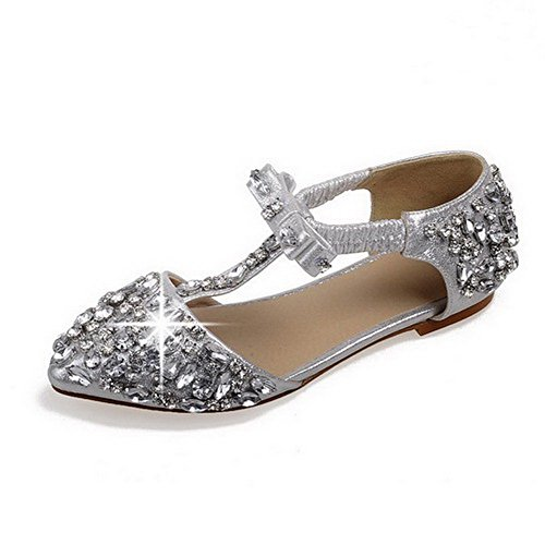 AllhqFashion Women's Soft Material Pointed Closed Toe No Heel Pull On Solid Sandals Silver