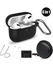 Cuauco Airpods Pro Case,Protective Silicone Cover for AirPods Pro(2019 Release)(Front LED Visible),with 1 Keychain/2 Strap/1 Watch Band Holder/1 Headphone Case for Apple AirPods Pro(6 Pack)(Black)