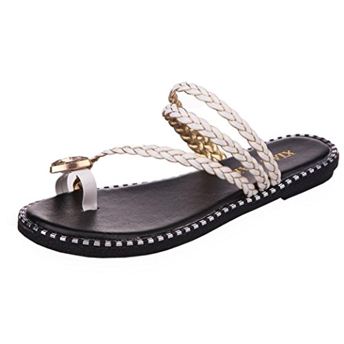 Transer Ladies Rhinestone Leisure Slippers- Women Flat Sandals Comfortable Slides Slippers Shoes Casual White zvu0kf4eO