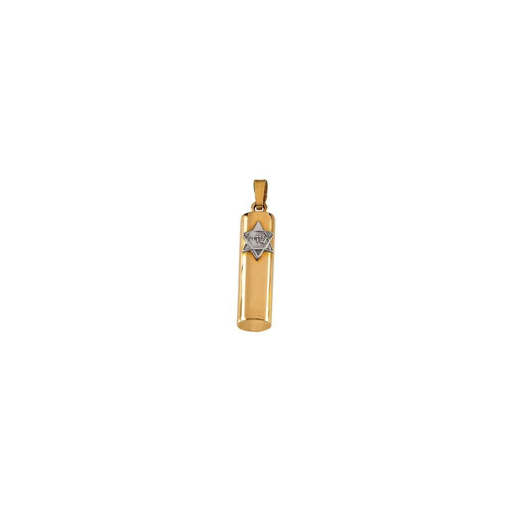 14K Yellow Gold & White Gold 21x5mm Mezuzah Pendant