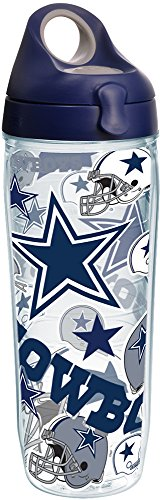 - Tervis 1247896 NFL Dallas Cowboys All Over Tumbler with Wrap and Navy with Gray Lid 24oz Water Bottle, Clear