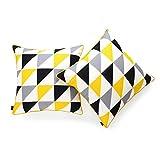 Hofdeco Decorative Throw Pillow Cover INDOOR OUTDOOR WATER RESISTANT Canvas Vivid Yellow Grey Black Triangle 18''x18'' Set of 2
