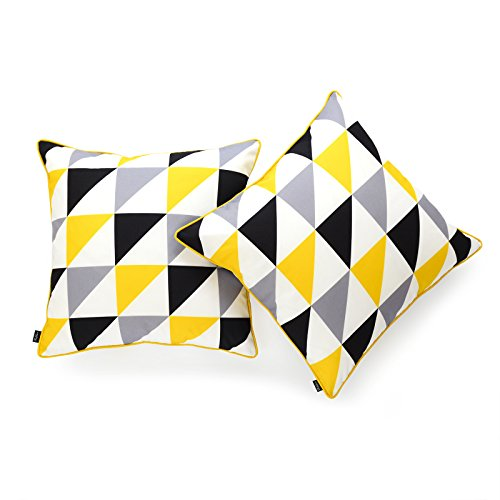 (Hofdeco Decorative Throw Pillow Cover INDOOR OUTDOOR WATER RESISTANT Canvas Vivid Yellow Grey Black Triangle 18