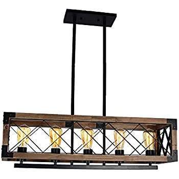 Baiwaiz Rustic Wood Chandelier, Metal Rectangular Chandelier Farmhouse  Kitchen Island Lighting 5 Lights Edison E26 032