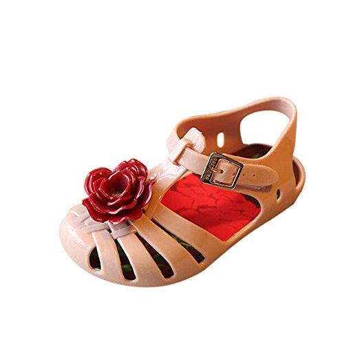 Hzjundasi Bebé Niña Linda Flower Casuales Antideslizante Suave Jalea Playa Plano Zapatos Niñito Niños Sandalias Lluvia Botas Beige