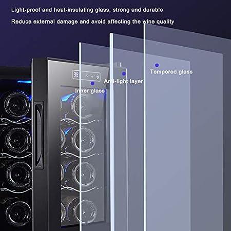 CLING Enfriador de Vino de 12 Botellas Compresor de Funcionamiento silencioso Bodega Independiente Encimera Enfriador de Vino Refrigerador y Panel táctil Pantalla Digital de Temperatura