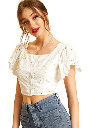 Sleeve Eyelet Top - WDIRARA Women's Summer Lace Eyelet Embroidery Butterfly Sleeve Crop Top Blouse White XL