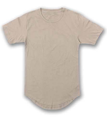 - JD Apparel Men's Hipster Longline Drop Cut T-Shirts L Ivory AM1050